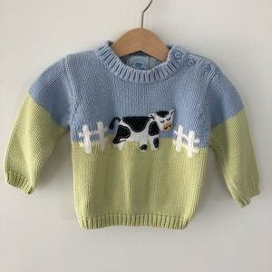 Vintage 100% cotton Hartstrings Cow Sweater 12-18m